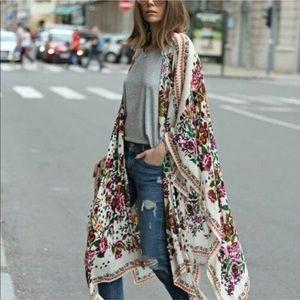 Figleaffashion chiffon maxi boho kimono duster NWT